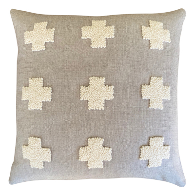 NATURAL PUNCH NEEDLE CROSSES CUSHION COVER