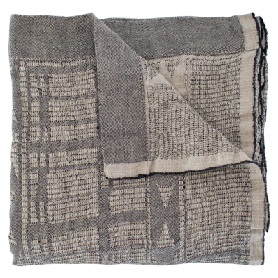 CHARCOAL ON NATURAL LINEN BONGOLAN BED THROW