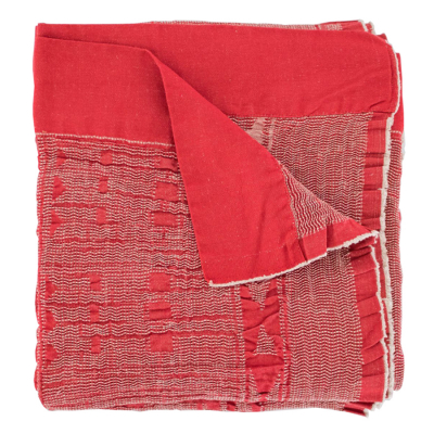 NATURAL ON RED LINEN COTTON BLEND BONGOLAN BED THROW