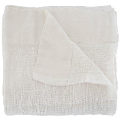 PEARL ON WHITE LINEN BONGOLAN BED THROW