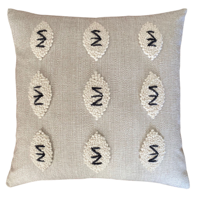 PUNCH NEEDLE SQUARE ZULU PATTERN CUSHION COVER TWO