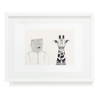 BEAR AND GIRAFFE A3 ART PRINT