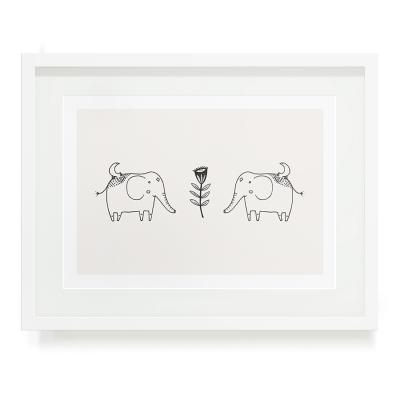 TWO ELEPHANTS A5 ART PRINT