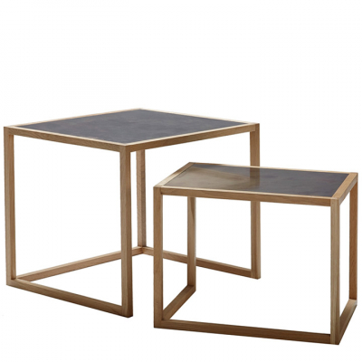 BRASS TOPPED NESTING TABLES
