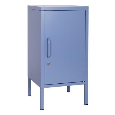BLUE BEDSIDE TABLE STEEL LOCKER