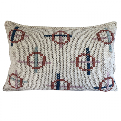 CIRCLES AND STRIPES COTTON TWINE CUSHION