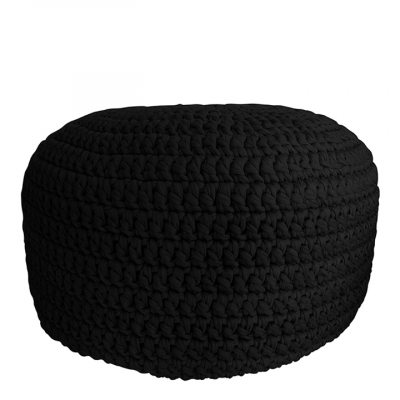 BLACK CROCHET POUF