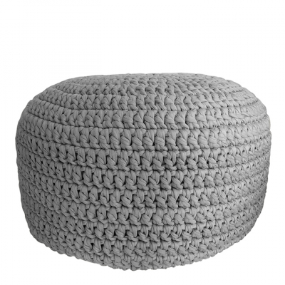 GREY CROCHET POUF