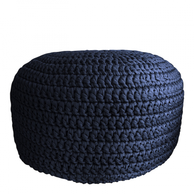 NAVY CROCHET POUF