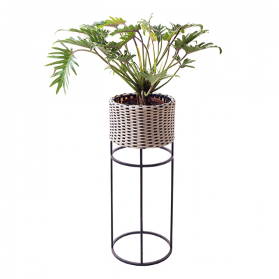 WOVEN PLANTER TALL BLACK AND WHITE
