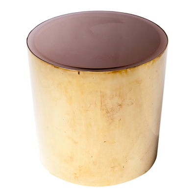 BRASS DRUM SIDE TABLE