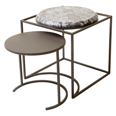 FLOSS NESTING TABLE SILVER GRANITE