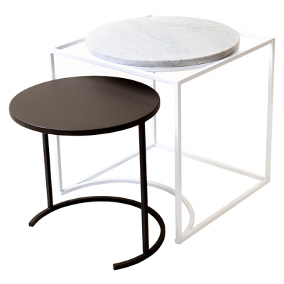 FLOSS NESTING TABLE BLACK AND MARBLE