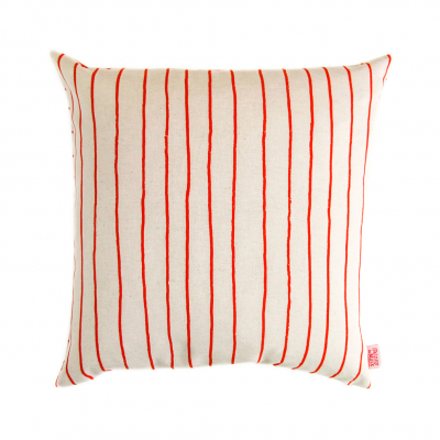 SIMPLE STRIPE SIGNAL RED CUSHION