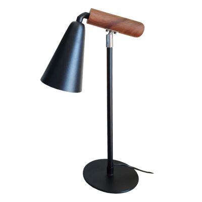WOOD AND BLACK SWIVEL LAMP