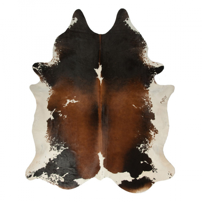 TRICOLOUR SOLID SADDLE NGUNI COWHIDE RUG