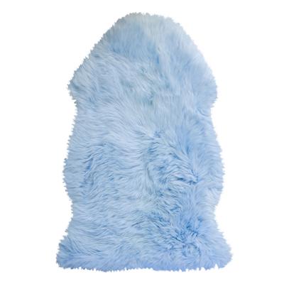 PASTEL BLUE LONG HAIRED SHEEPSKIN RUG