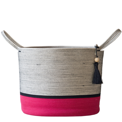 PINK WITH BLACK COTTON ROPE FLOOR BASKET