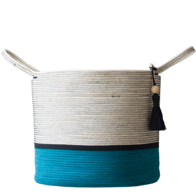 TEAL WITH BLACK COTTON ROPE FLOOR BASKET