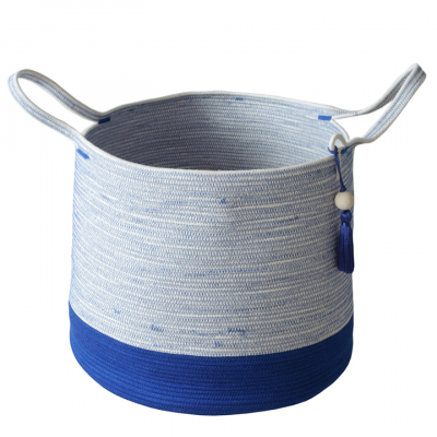 BLUE COTTON ROPE FLOOR BASKET