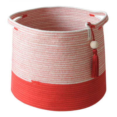 RED COTTON ROPE CONICAL BASKET