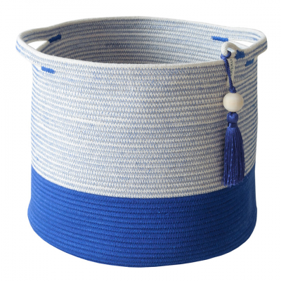 BLUE COTTON ROPE CONICAL BASKET