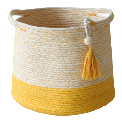 LEMON COTTON ROPE CONICAL BASKET
