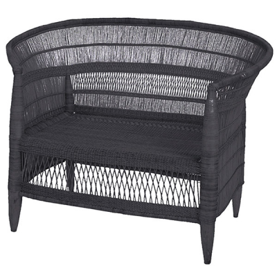 TWO SEATER CHARCOAL CANE SOFA