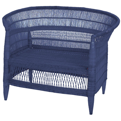 TWO SEATER INDIGO BLUE CANE SOFA
