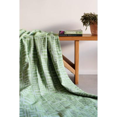 GARDEN GREEN COTTON KUBA WAFFLE BED THROW