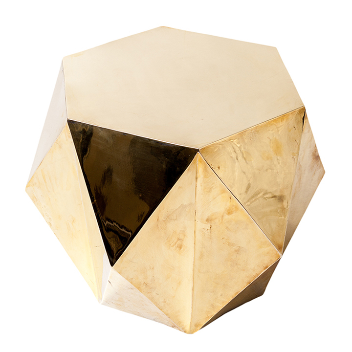 Faceted Copper Coffee Table: BRASS FACETED SIDE TABLE
